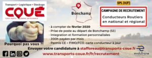 Transports Coué lancent pour début 2020 une campagne de recrutement de conducteurs routiers H/F